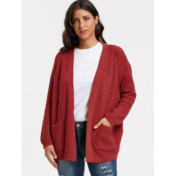 Cardigan à poches - Rouge vineux ONE SIZE