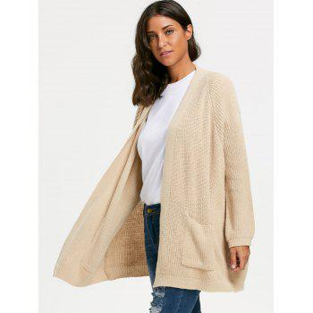 Pockets Sweater Cardigan - KHAKI KHAKI