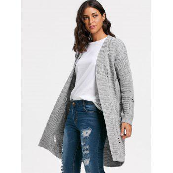 Long Cable Kint Sweater Cardigan - GRAY ONE SIZE