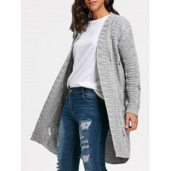 Long Cable Kint Sweater Cardigan - GRAY GRAY