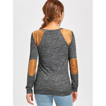 Long Sleeve Faux Leather Insert T-shirt - S S