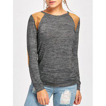 Long Sleeve Faux Leather Insert T-shirt - DEEP GRAY S