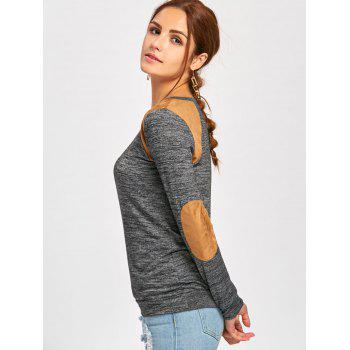 Long Sleeve Faux Leather Insert T-shirt - DEEP GRAY M
