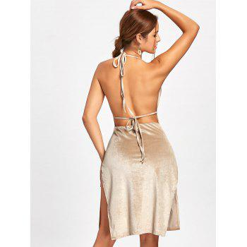 Slit Backless Halter Velvet Dress - L L