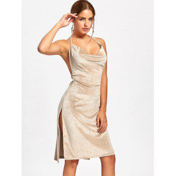Slit Backless Halter Velvet Dress - APRICOT APRICOT