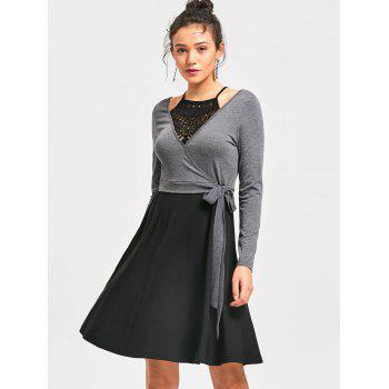 Crochet Trim Fit and Flare Dress - BLACK/GREY M