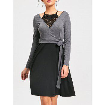 Crochet Trim Fit and Flare Dress - BLACK AND GREY L