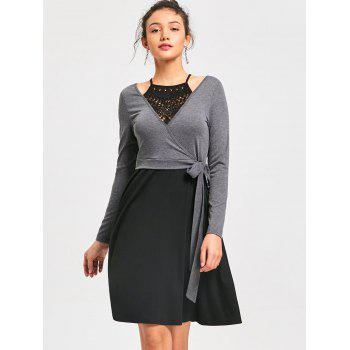 Crochet Trim Fit and Flare Dress - BLACK/GREY XL