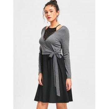 Crochet Trim Fit and Flare Dress - BLACK/GREY 2XL