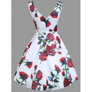 Vintage Floral Print Sleeveless Mini Dress - WHITE XL