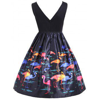 Flamingo Print Sleeveless Vintage Dress - BLACK M