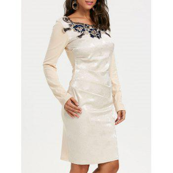 Jacquard Long Sleeve Ruched Bodycon Dress - APRICOT M