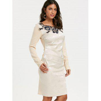 Jacquard Long Sleeve Ruched Bodycon Dress - APRICOT L