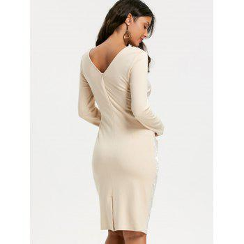 Jacquard Long Sleeve Ruched Bodycon Dress - APRICOT 2XL
