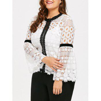 Plus Size Crochet Hollow Out Top with Cami - WHITE WHITE