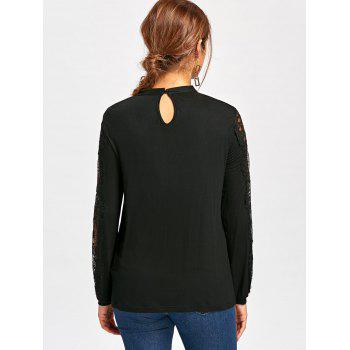 Lace Trim Frill Long Sleeve Top - BLACK BLACK