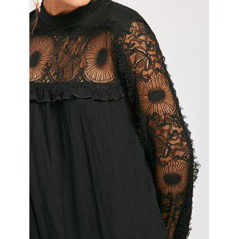 Lace Trim Frill Long Sleeve Top - BLACK 2XL