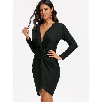 Long Sleeve Twist Front Low Cut Dress - L L