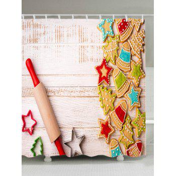 Christmas Biscuit Wood Print Waterproof Bathroom Shower Curtain - COLORMIX COLORMIX