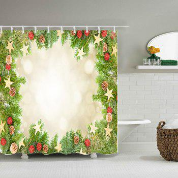 Christmas Tree Stars Print Waterproof Bathroom Shower Curtain - GREEN W59 INCH * L71 INCH