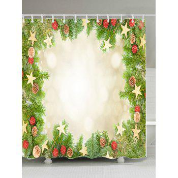 Christmas Tree Stars Print Waterproof Bathroom Shower Curtain - GREEN W71 INCH * L79 INCH