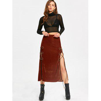 Lace Up High Slit Maxi Velvet Skirt - SUGAR HONEY L