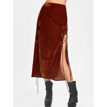Lace Up High Slit Maxi Velvet Skirt - SUGAR HONEY XL