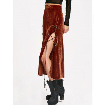 Lace Up High Slit Maxi Velvet Skirt - XL XL