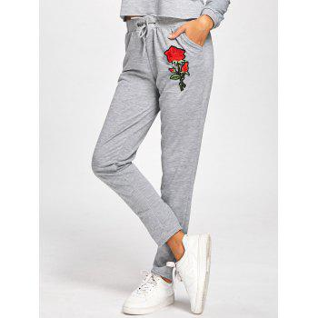 High Waisted Floral Embroidered Sweatpants - GRAY L