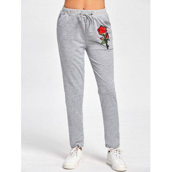 High Waisted Floral Embroidered Sweatpants - L L