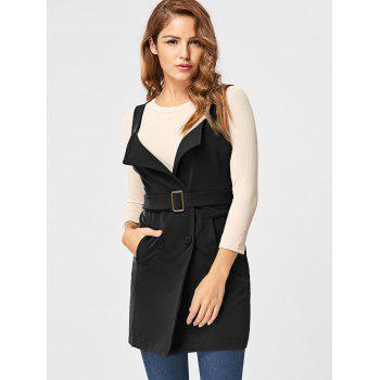 Vertical Pockets Waistcoat with Belt - BLACK BLACK