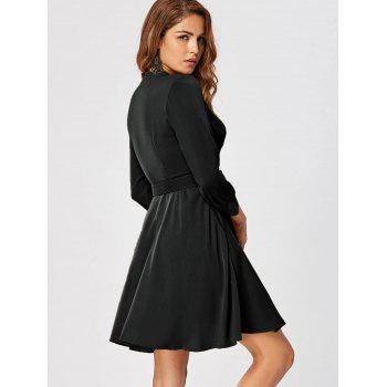 Fit and Flare Dress with Belt - BLACK L