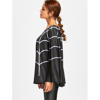 Halloween Spider Web Print Swing Poncho - BLACK BLACK