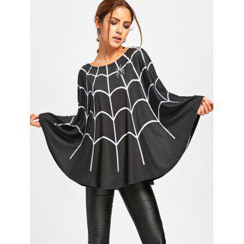 Halloween Spider Web Print Swing Poncho - Noir XL