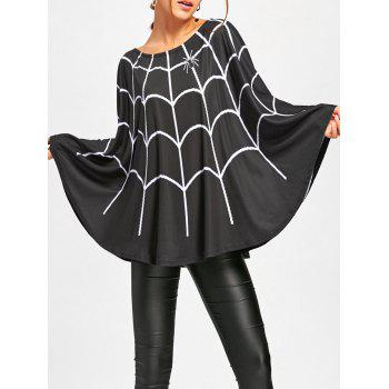 Halloween Spider Web Print Swing Poncho - BLACK 2XL