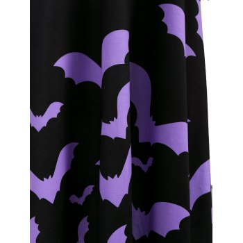 Cross Back Bat Print Fit and Flare Dress - BLACK 2XL