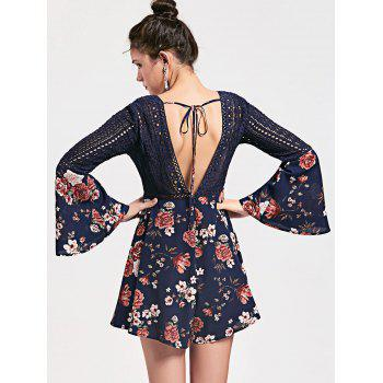 Floral Low Cut Crochet Hollow Out Romper - CERULEAN M