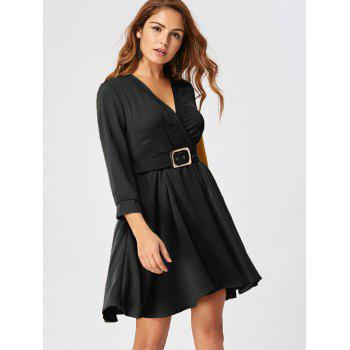 Fit and Flare Dress with Belt - BLACK M