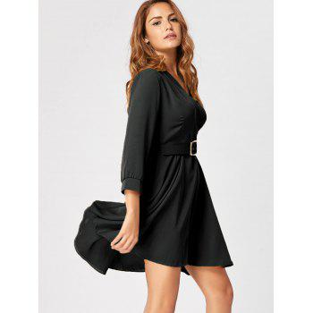 Fit and Flare Dress with Belt - BLACK XL