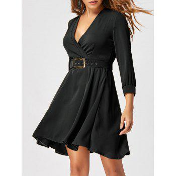 Fit and Flare Dress with Belt - BLACK BLACK