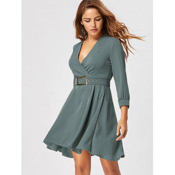 Fit and Flare Dress with Belt - SAGE GREEN 2XL