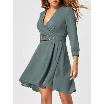 Fit and Flare Dress with Belt - SAGE GREEN L