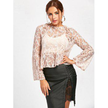 Flare Sleeve Lace Sheer Blouse - NUDE L