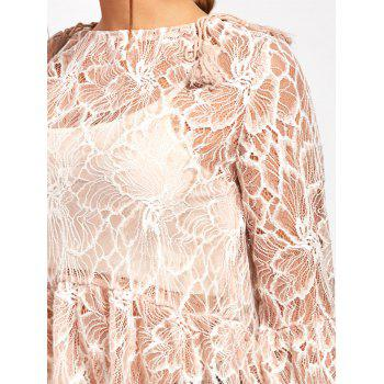 Flare Sleeve Lace Sheer Blouse - NUDE NUDE