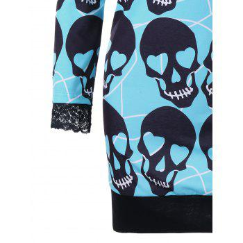 Off The Shoulder Skull Print Robe de Halloween - Bleu Vert L