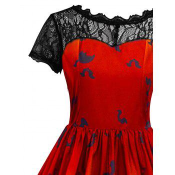Halloween Vintage Lace Insert Pin Up Dress - JACINTH 2XL