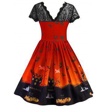 Halloween Vintage Lace Insert Pin Up Dress - JACINTH S