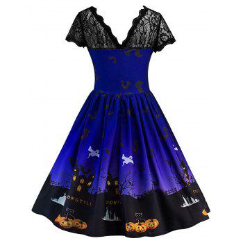 Halloween Vintage Lace Insert Pin Up Dress - BLUE L