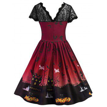 Halloween Vintage Lace Insert Pin Up Dress - DEEP RED XL