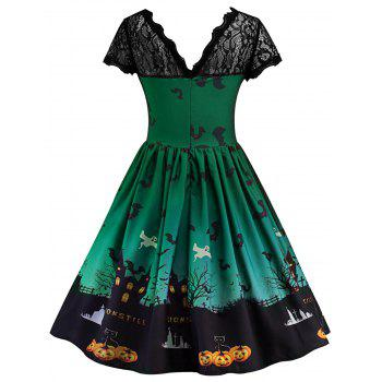 Robe Halloween à Empiècement en Dentelle Vintage - GREEN 2XL